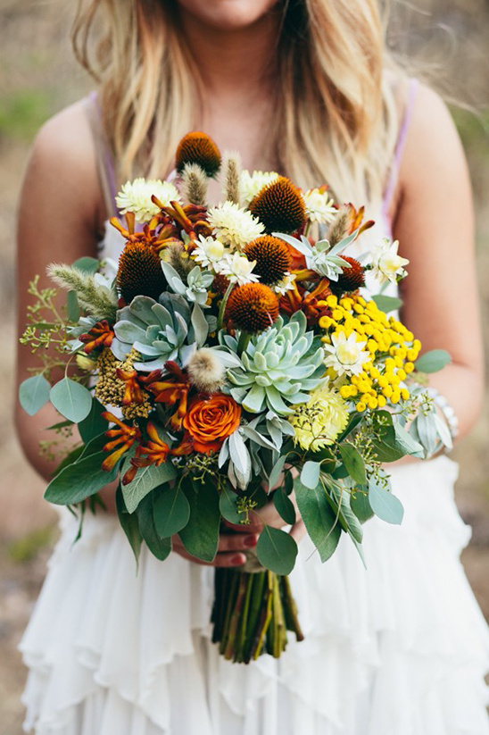 wildflower and succulent bouquet