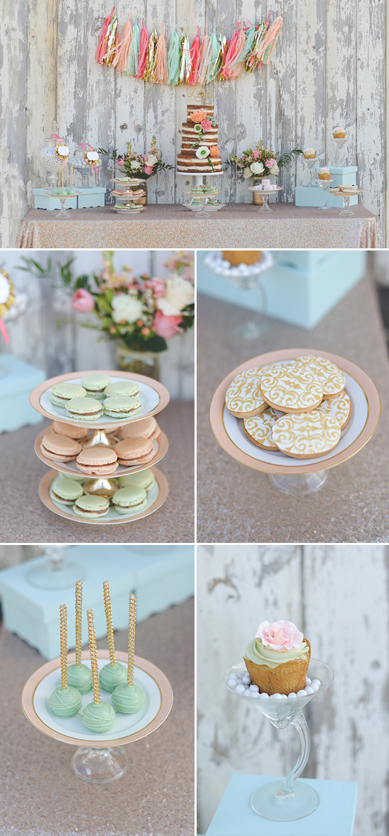vintage mint and peach dessert table