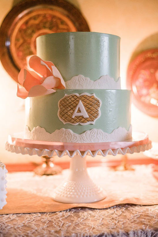 mint and peach cake