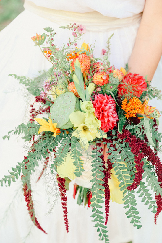 wildflower bouquet with cacti