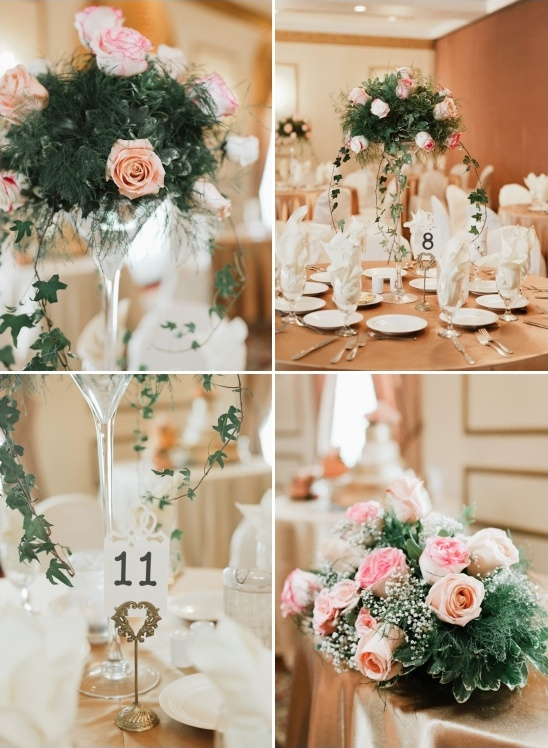 formal dinner reception with rose and ivy centerpieces