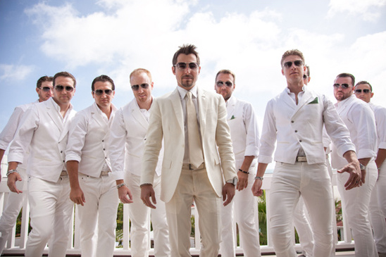 all white groomsmen
