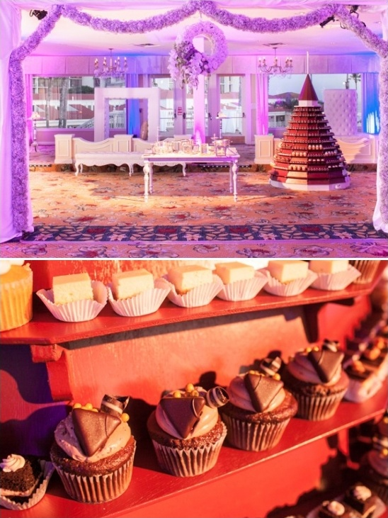 dessert tower with cupcakes and other assorted sweets