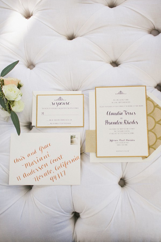 gold and ivory wedding stationery