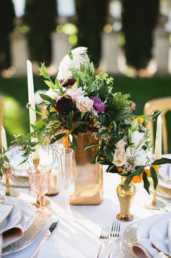 gold and purple centerpiece