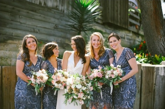 blue and silver bridesmaid dresses