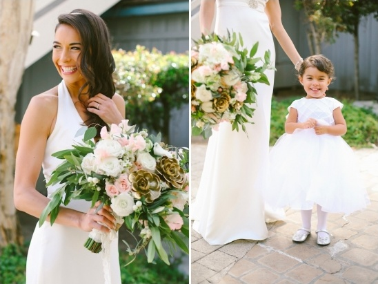 beautiful bride and her flower girl