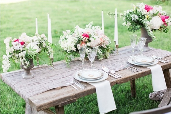 rustic picnic table setting