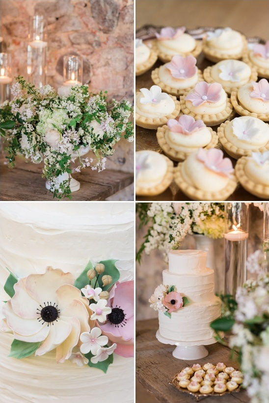cake table with mini tarts and floating candle decor