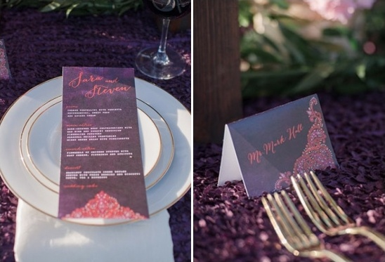 matching menu and escort cards