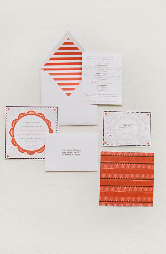 orange wedding invites