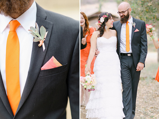 orange and black groom attire