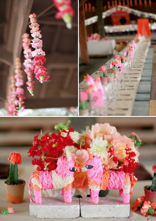 pinata centerpieces and hanging flower chains