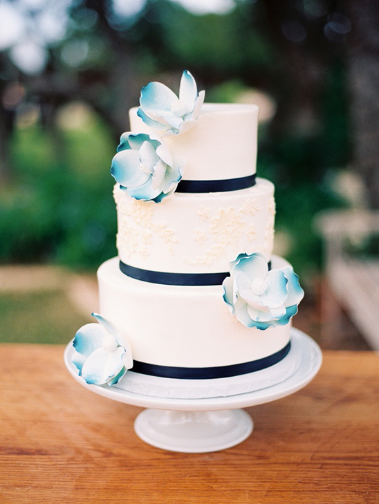 navy accented wedding cake