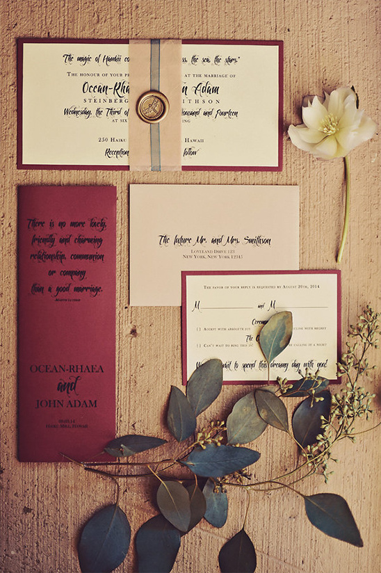 fall inspired elegant wedding invitation suite