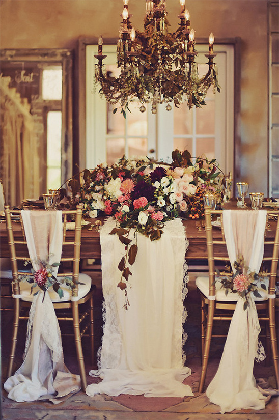 glam fall inspired wedding reception