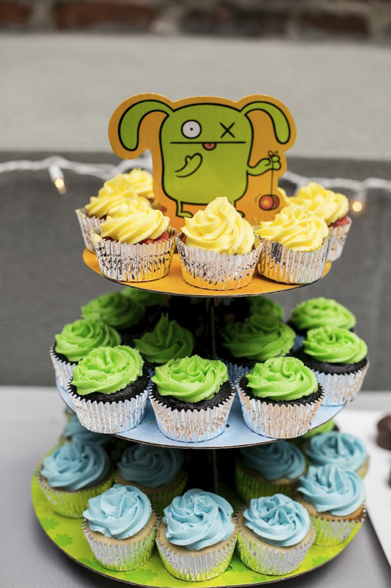 monster topped cupcake stand