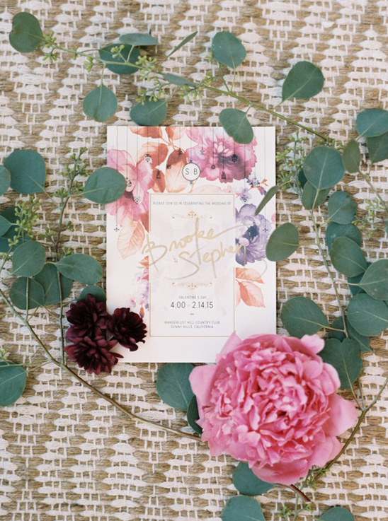 pressed flower inspired wedding stationery