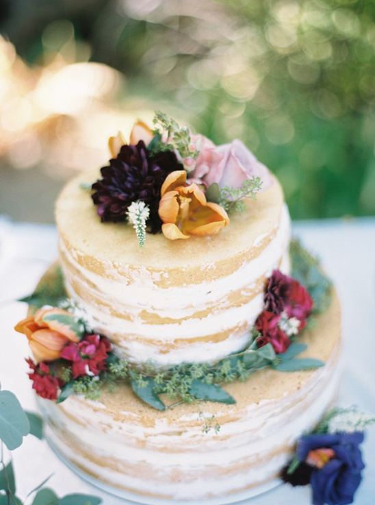 flower topped naked cake