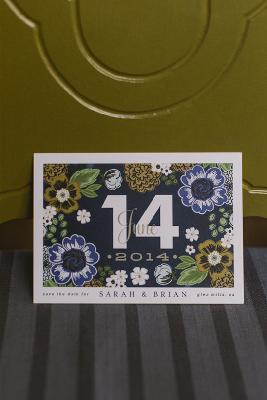 floral patterned save the date