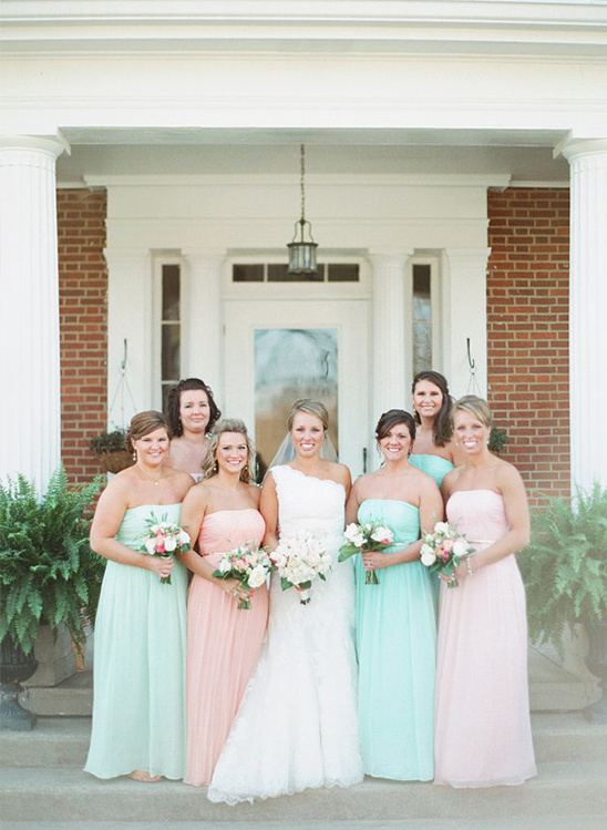 mint and pink bridesmaid dresses
