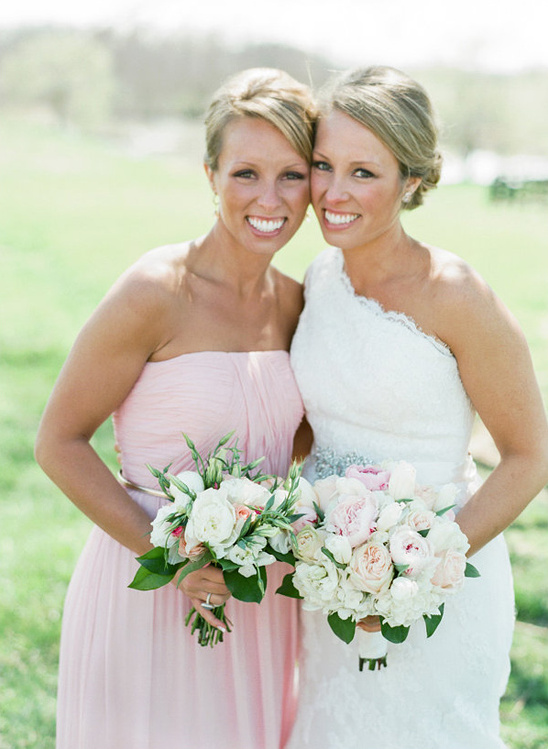 maid of honor in pink with bride