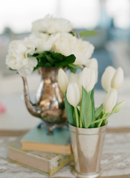 tulip and peony centerpiece