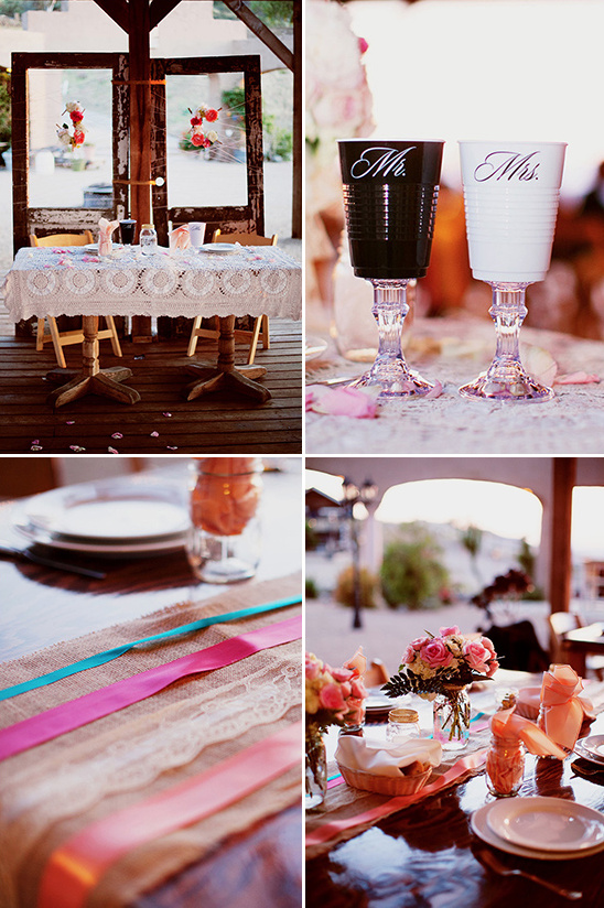 lace burlap and ribbon table decor