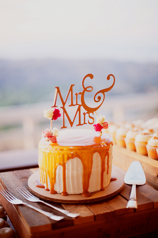 caramel drizzled wedding cake