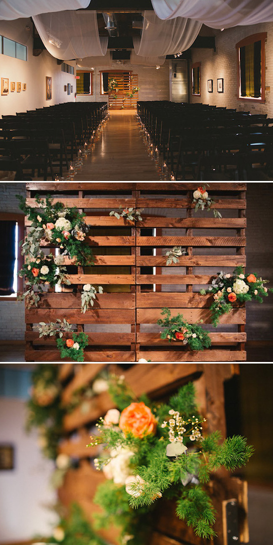 flower draped pallet backdrop