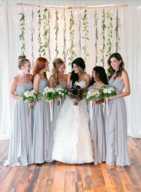 floor length grey bridesmaid dresses