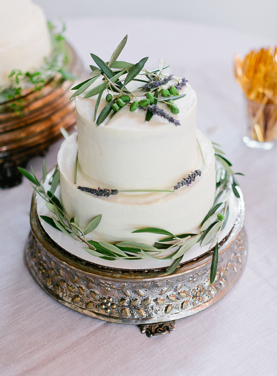 olive leaves and lavender accented cake