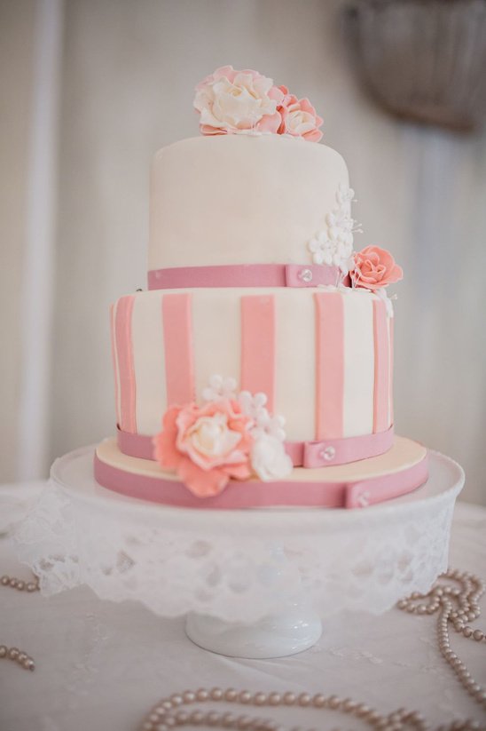 pink and white wedding cake from Ooh Koek