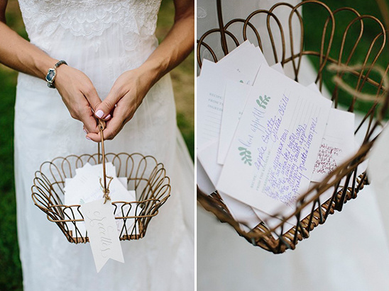 wedding secrets in cute wire basket