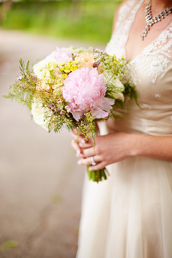 pink and yellow wedding bouquet