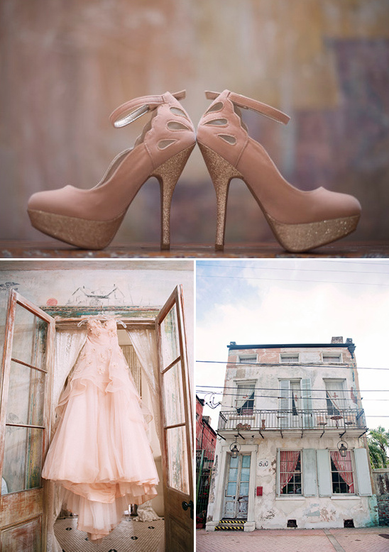 soft pink wedding shoes at New Orleans venue Race & Religious