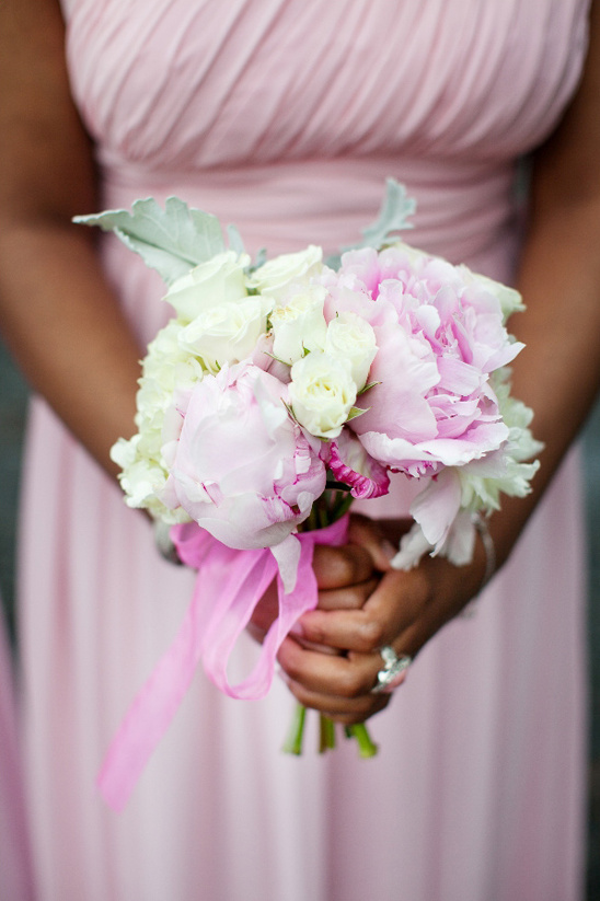 pink and white bridesmaid bouquet
