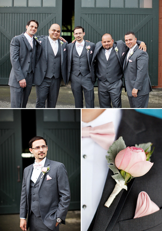 gray and pink groomsmen looks