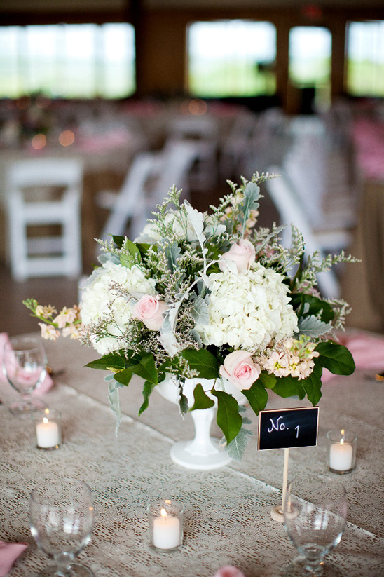 milk glass floral arrangement
