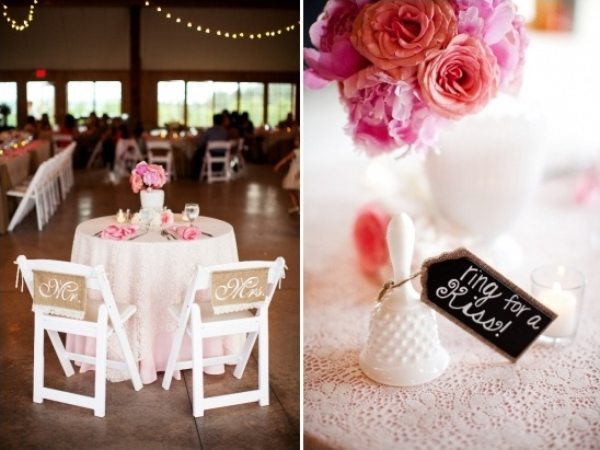 sweetheart table with kiss bell