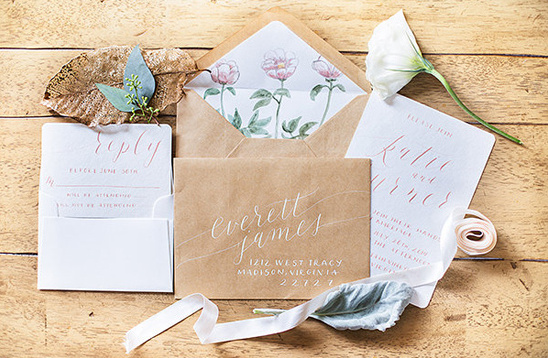 Cast Calligraphy brown paper wedding stationery