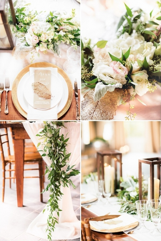 gold accented ivy and lantern table decor