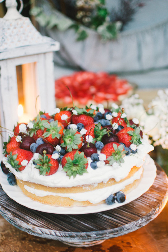 berry topped naked cake