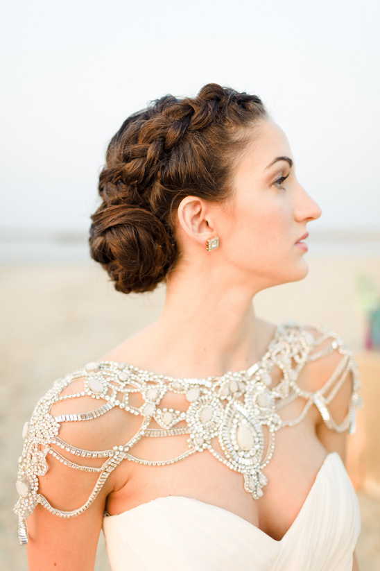 braided updo and ornate crystal bolero