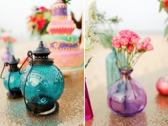 colored glass lanterns and bud vase