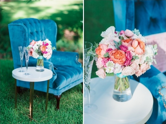 heirloom arm chair and surprise bouquet