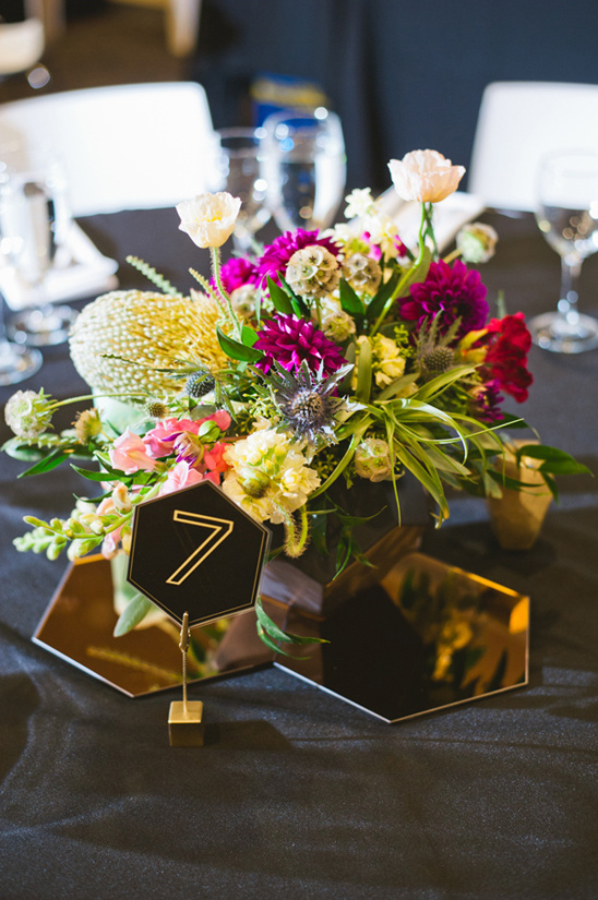 Primary Petals centerpiece with modern hexigon accents