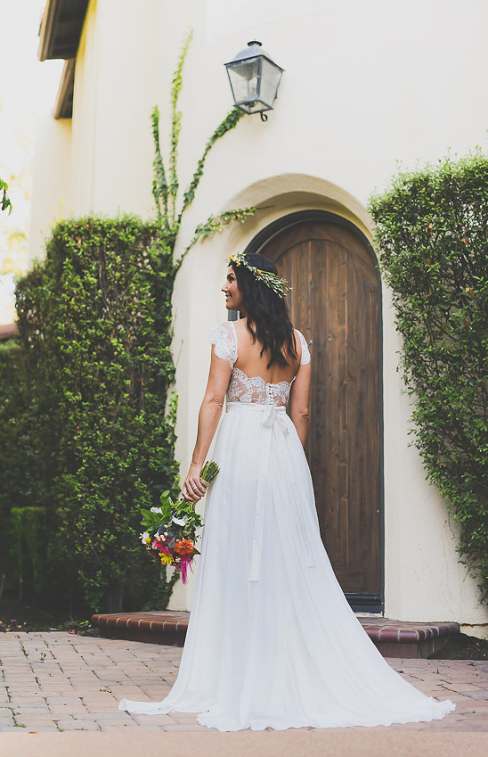 open backed wedding dress from Rose and Delilah