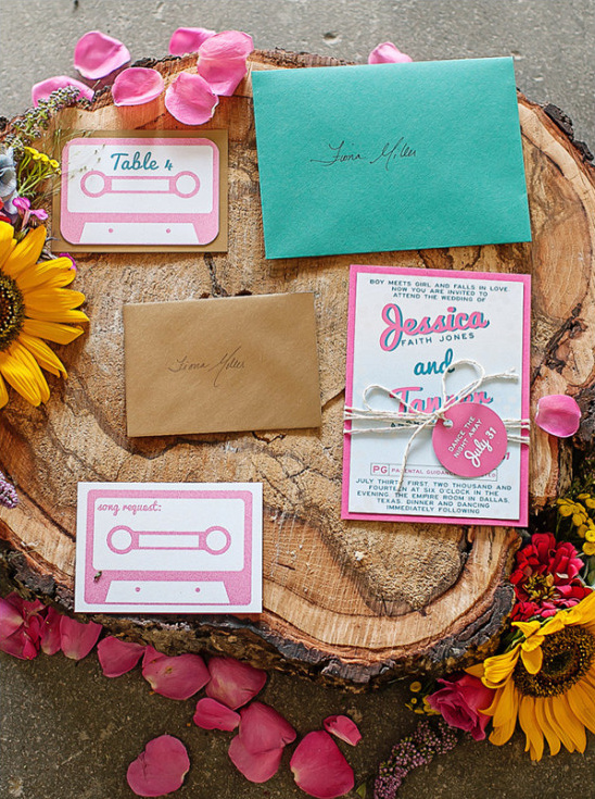 tape deck wedding invite
