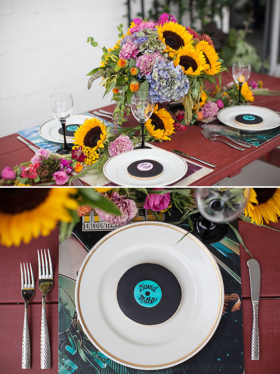 record inspired place settings